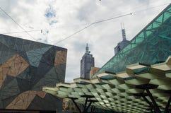 Federationfyrkant i Melbourne Arkivbilder
