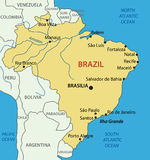 Federative Republic of Brazil - mapa Imagens de Stock Royalty Free