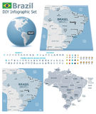 Federative Republic of Brazil maps with markers Stock Image