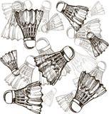 Federbälle in der Skizzenart Badmintonfederbälle zeichnen Ikone, dünne Kontur auf weißem Hintergrund Lizenzfreie Stockbilder