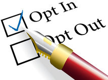 Federcheck wählen entscheiden in der auserlesenen Option Stockbilder