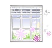 Federelement - Fenster mit Blumen Stockfotografie