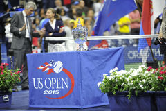 Federer & Djokovic final trophy US Open 2015 (116). USOPEN 2015 trophy at the final ceremony Stock Photo