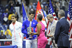 Federer & Djokovic US Open 2015 (141). Federer Roger & Djokovic Novak ceremony at USOPEN 2015 Royalty Free Stock Photos