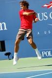 Federer Roger in US öffnen 2008 (11) Lizenzfreie Stockfotografie