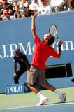 Federer Roger in US öffnen 2008 (15) Stockfotografie