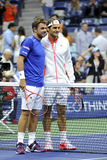 Federer & Wawrinka SUI US Open 2015 (10). Federer Roger & Stan Wawrinka at the net; USOPEN 2015 Stock Image