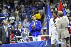 Federer y US Open 2015 (125) de Djokovic Imagen de archivo libre de regalías