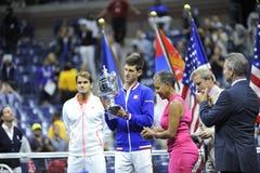 Federer y US Open 2015 (142) de Djokovic Imagenes de archivo