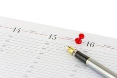 Federfüllfederhalter zeigt das Datum vom 15. Februar - Valenti an Stockfotografie