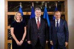 Federica Mogherini, Petro Poroshenko en Donald Tusk royalty-vrije stock foto