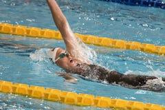 Federica Pellegrini simmare under 7th för Milano för Trofeo cittadi konkurrens simning Royaltyfri Bild