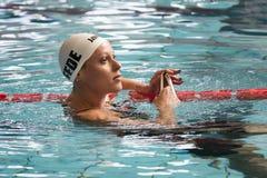 Federica Pellegrini simmare under 7th för Milano för Trofeo cittadi konkurrens simning Royaltyfri Foto