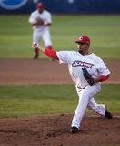 Federico Baez. Delivera a pitch in the second inning of Friday's game Stock Images