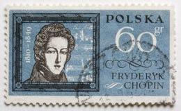 Federico Chopin en un sello del poste Imagen de archivo libre de regalías