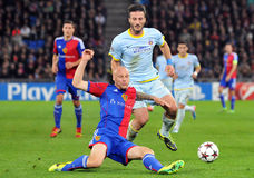 Federico Piovaccari and Ivan Ivanov pictured during UEFA Champions League game Royalty Free Stock Images