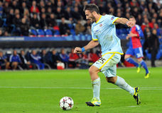 Federico Piovaccari scores a goal during UEFA Champions League game Stock Images