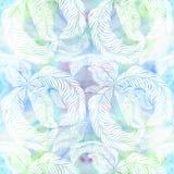 Federn - dekorative Zusammensetzung auf einem Aquarellhintergrund Mehrfarbige Federn - Zeichnung im Aquarell Adobe Photoshop für  Lizenzfreie Stockbilder