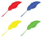 Federn von verschiedenen Farben raster Lizenzfreies Stockbild