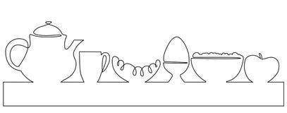 Federzeichnung des vollen Menüs eins des Frühstücks Lizenzfreie Stockbilder