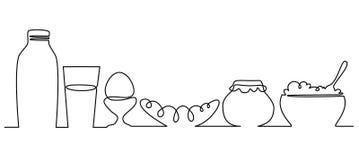 Federzeichnung des vollen Menüs eins des Frühstücks Stockfotografie