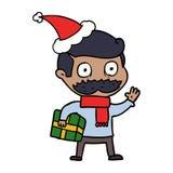 Federzeichnung eines Mannes mit dem Schnurrbart- und Weihnachtsgeschenk, das Sankt-Hut tr?gt lizenzfreie abbildung