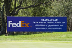 FedEx - 7th Tee. FedEx sponsored prize of one million rand for 1st hole in one. 7the hole. Half for the successful golfer, half to a charity as detailed in the Stock Image