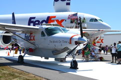 Fedex airplanes at airshow. Two FedEx aircraft at an airshow in Rochester, NY royalty free stock photo