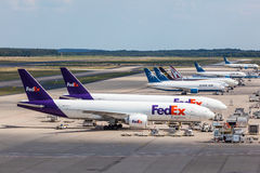 FedEx airplanes at the cargo terminal in Cologne airport Royalty Free Stock Photography