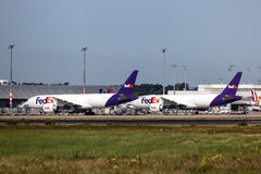 FedEx airplanes at the cargo terminal Stock Photo