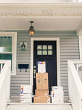 FedEx boxes on front porch Royalty Free Stock Photos