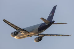 FedEx Federal Express Airbus A310 cargo aircraft taking off from Los Angeles International Airport. Stock Photo