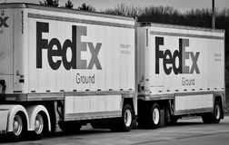 FEDEX GROUND PUP TRAILERS in GRAY SCALE Royalty Free Stock Images