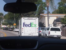 FedEx Ground truck seen from the car Royalty Free Stock Image