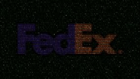 FedEx logo made of flashing hexadecimal symbols on computer screen. Editorial 3D rendering