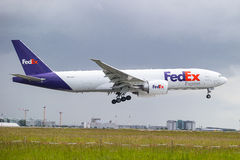 Fedex Plane Landing. In Paris stock photography