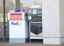 FedEx and Ups Drop Boxes Stock Image