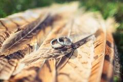 Fedi nuziali con i diamanti sulle piume Fotografia Stock