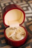 Fedi nuziali in una scatola rossa per gli anelli Fotografia Stock Libera da Diritti