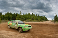 Fedor Kratov drives a green Lada Priora Royalty Free Stock Image