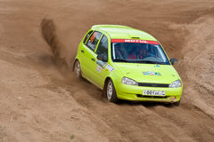 Fedor Kratov drives a green Lada Priora Stock Photo