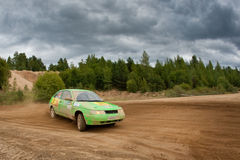 Fedor Kratov drives a green Lada Priora car Royalty Free Stock Image