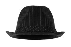 Fedora. Black fedora hat isolated on white royalty free stock image