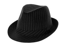 Fedora. Black fedora hat isolated on white royalty free stock photos