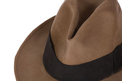 Fedora. Close up of a brown fedora on a white background royalty free stock photo