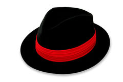 Fedora. Hat with red band, isolated on white stock photography