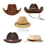 Fedora and cowboy hats of brown and beige colors set. Headdresses and stylish accessories for men of modern models isolated realistic flat vector illustrations royalty free illustration