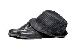Fedora and Dress Shoes. 1950 circa fedora hat and a pair of dress shoes stock photos