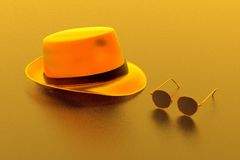 Fedora and glasses stock photo