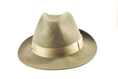 Fedora hat. Old grey fedora hat isolated on white background royalty free stock photography